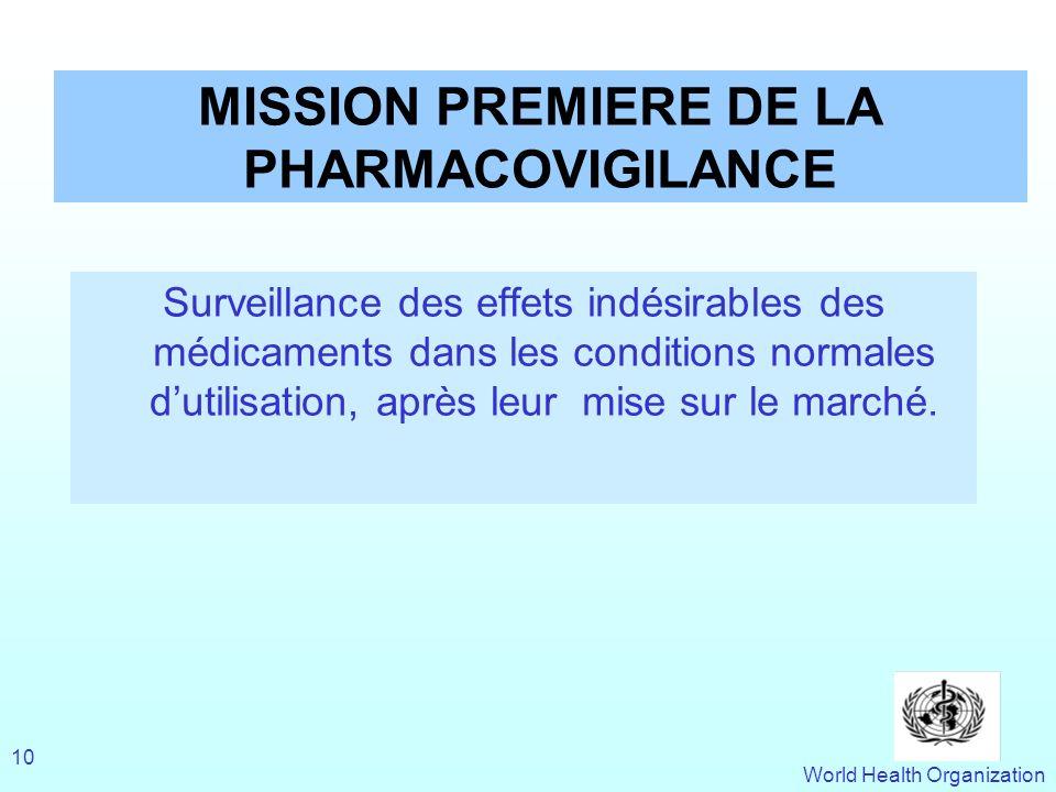 World Health Organization 10 MISSION PREMIERE DE LA PHARMACOVIGILANCE Surveillance des effets indésirables des médicaments dans les conditions normale