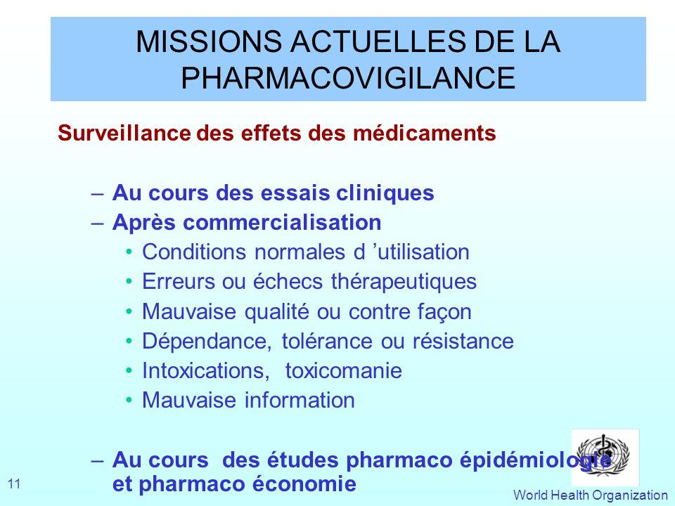 World Health Organization 11 MISSIONS ACTUELLES DE LA PHARMACOVIGILANCE Surveillance des effets des médicaments –Au cours des essais cliniques –Après