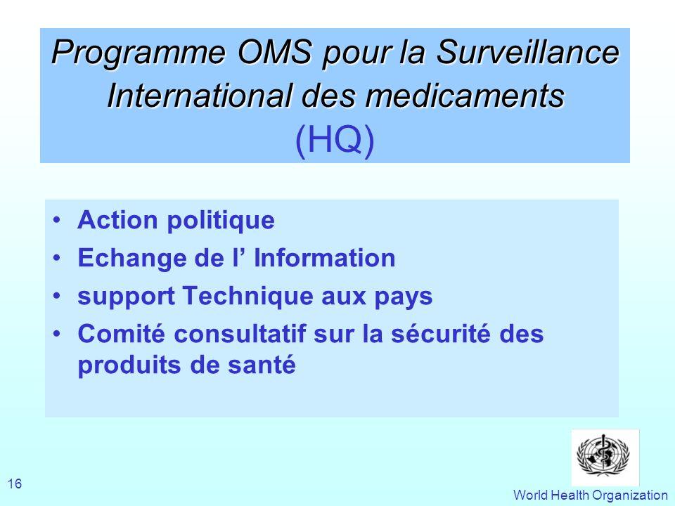World Health Organization 16 Programme OMS pour la Surveillance International des medicaments Programme OMS pour la Surveillance International des med