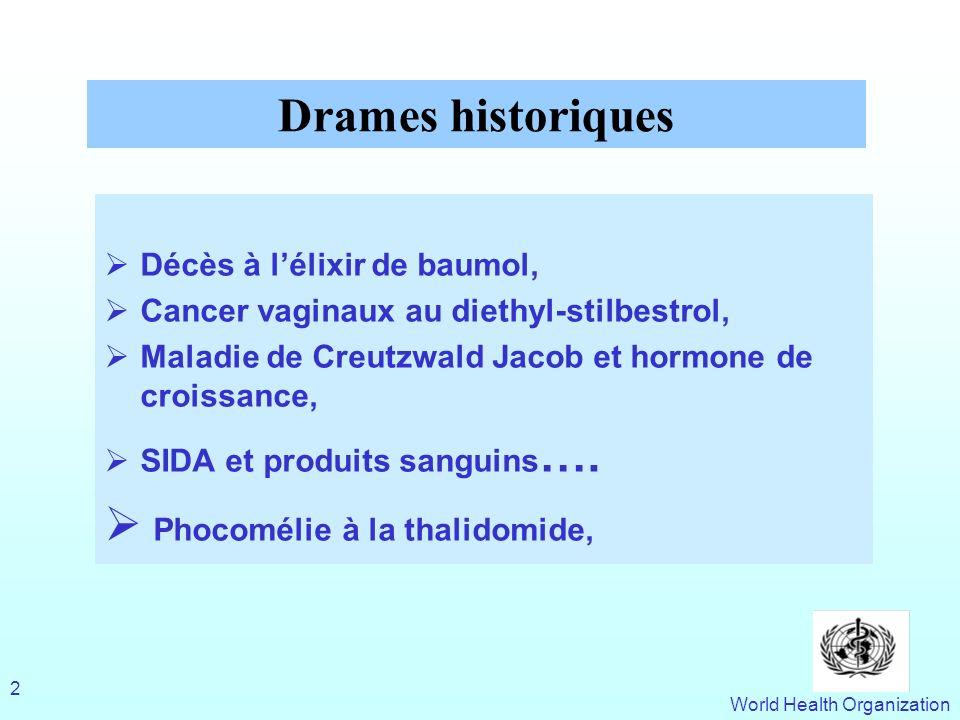 World Health Organization 2 Décès à lélixir de baumol, Cancer vaginaux au diethyl-stilbestrol, Maladie de Creutzwald Jacob et hormone de croissance, S