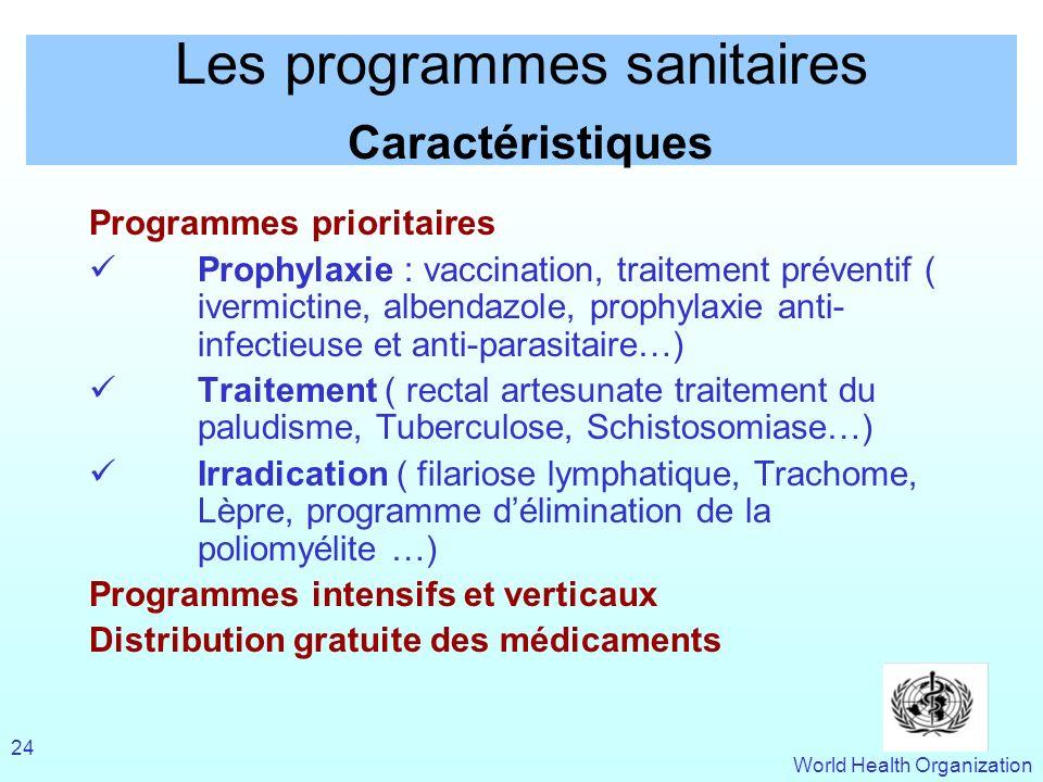 World Health Organization 24 Les programmes sanitaires Caractéristiques Programmes prioritaires Prophylaxie : vaccination, traitement préventif ( iver