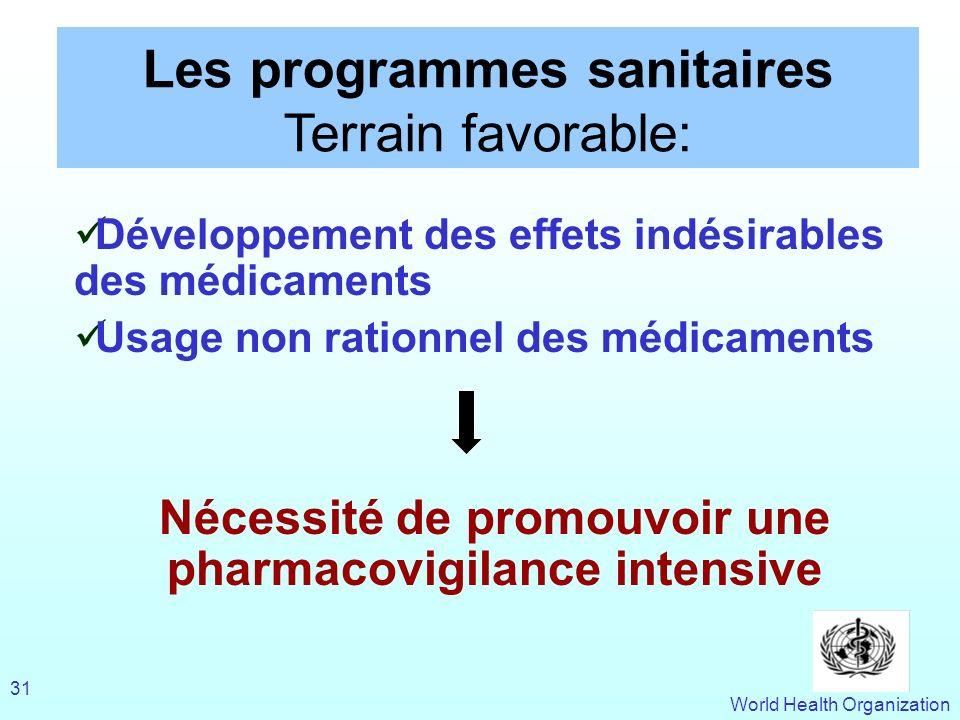 World Health Organization 31 Les programmes sanitaires Terrain favorable: Développement des effets indésirables des médicaments Usage non rationnel de