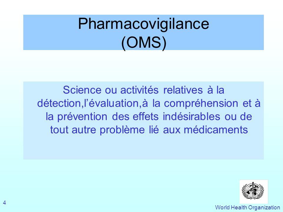 4 Pharmacovigilance (OMS) Science ou activités relatives à la détection,lévaluation,à la compréhension et à la prévention des effets indésirables ou d