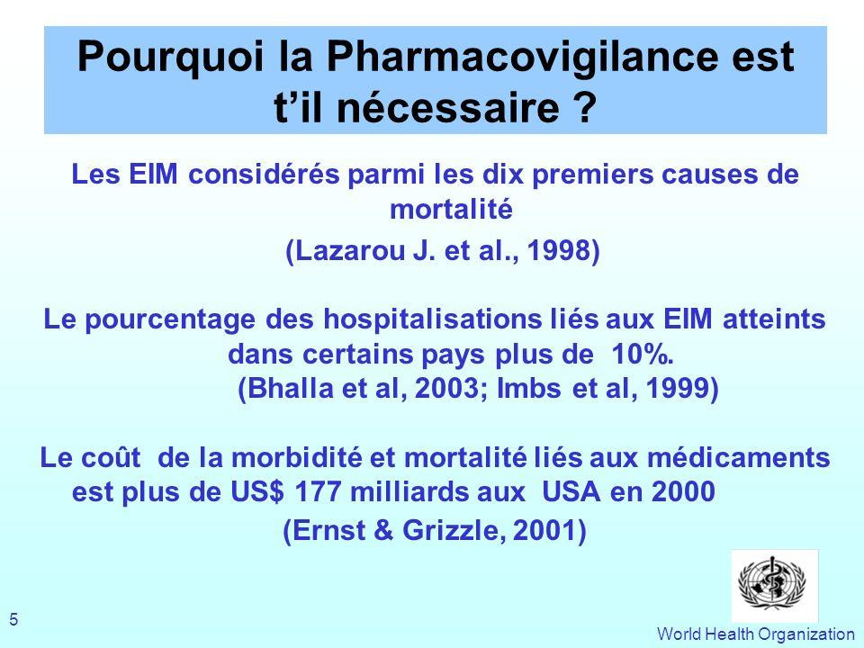 World Health Organization 5 Pourquoi la Pharmacovigilance est til nécessaire ? Les EIM considérés parmi les dix premiers causes de mortalité (Lazarou