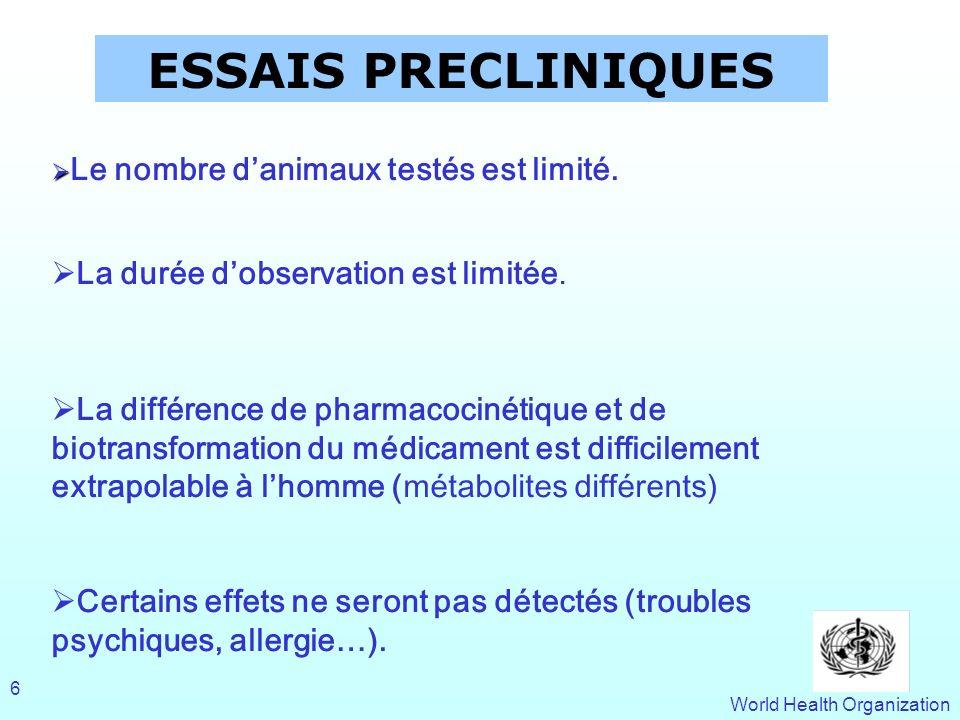 World Health Organization 6 ESSAIS PRECLINIQUES Le nombre danimaux testés est limité. La durée dobservation est limitée. La différence de pharmacociné