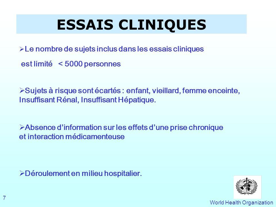 World Health Organization 7 ESSAIS CLINIQUES Le nombre de sujets inclus dans les essais cliniques est limité < 5000 personnes Sujets à risque sont éca