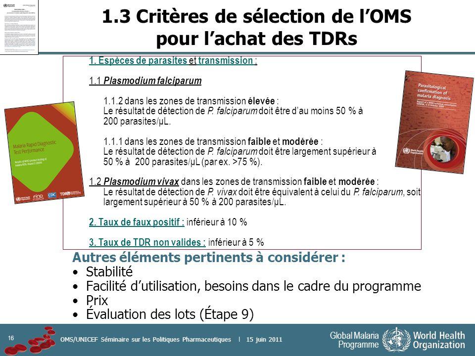 16 Global Malaria Programme OMS/UNICEF Séminaire sur les Politiques Pharmaceutiques | 15 juin 2011 1.3 Critères de sélection de lOMS pour lachat des T