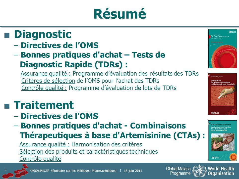 2 Global Malaria Programme OMS/UNICEF Séminaire sur les Politiques Pharmaceutiques | 15 juin 2011 Résumé Diagnostic – Directives de lOMS – Bonnes prat