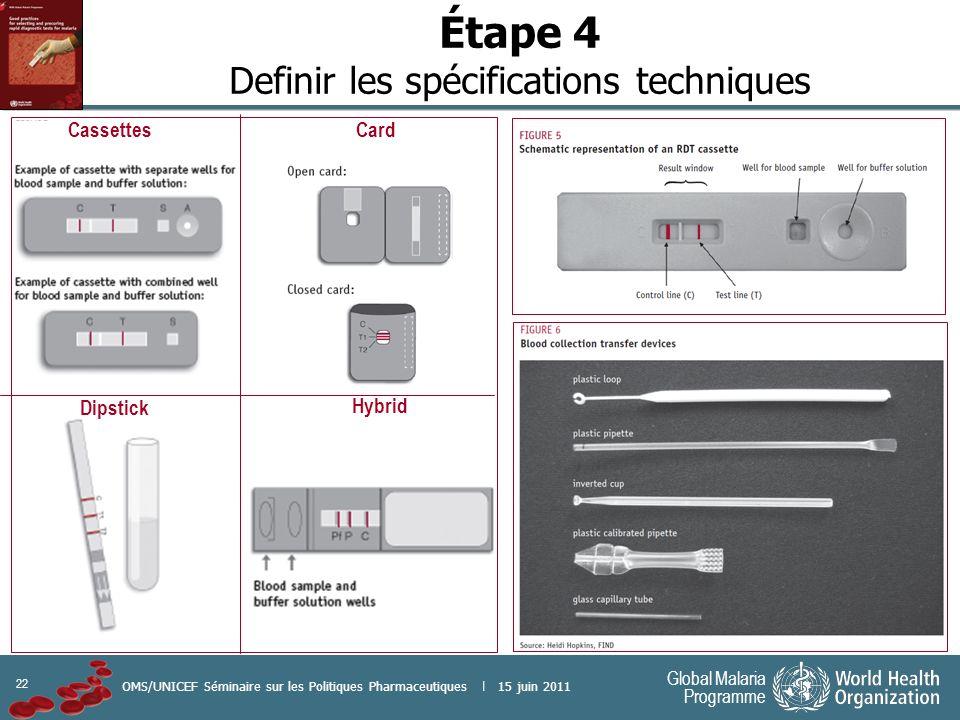 22 Global Malaria Programme OMS/UNICEF Séminaire sur les Politiques Pharmaceutiques | 15 juin 2011 Étape 4 Definir les spécifications techniques Dipst