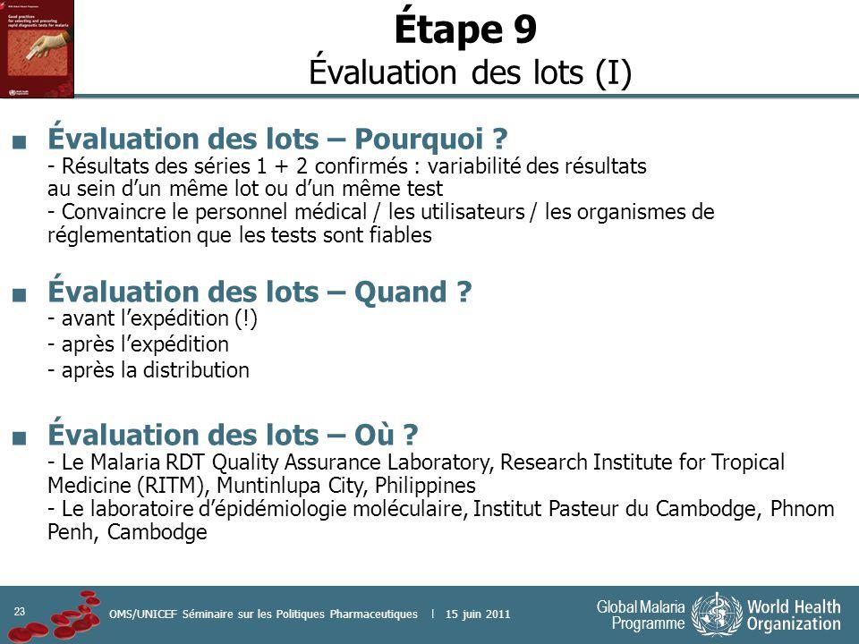 23 Global Malaria Programme OMS/UNICEF Séminaire sur les Politiques Pharmaceutiques | 15 juin 2011 Étape 9 Évaluation des lots (I) Évaluation des lots