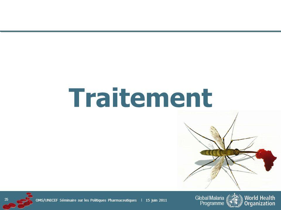 25 Global Malaria Programme OMS/UNICEF Séminaire sur les Politiques Pharmaceutiques | 15 juin 2011 Traitement