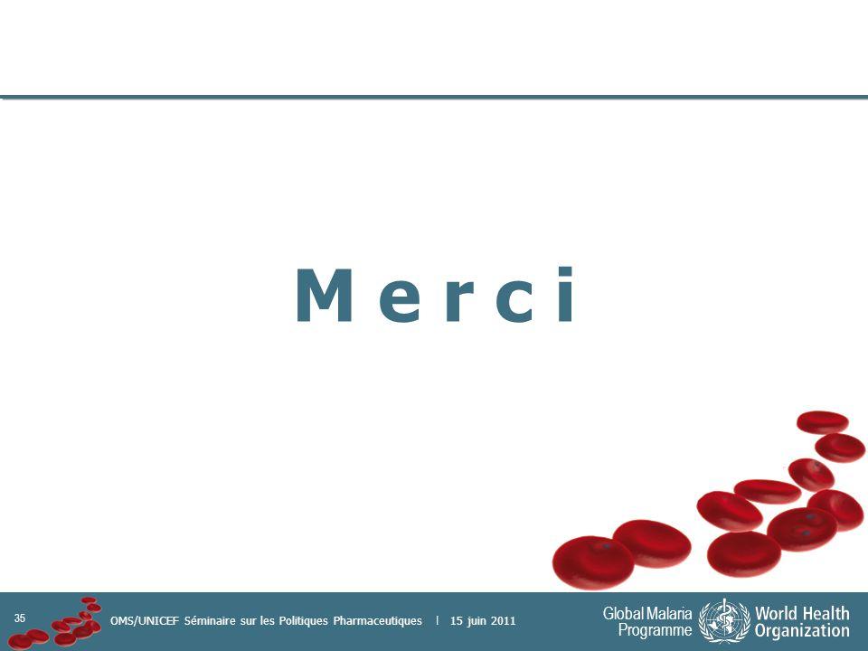 35 Global Malaria Programme OMS/UNICEF Séminaire sur les Politiques Pharmaceutiques | 15 juin 2011 M e r c i