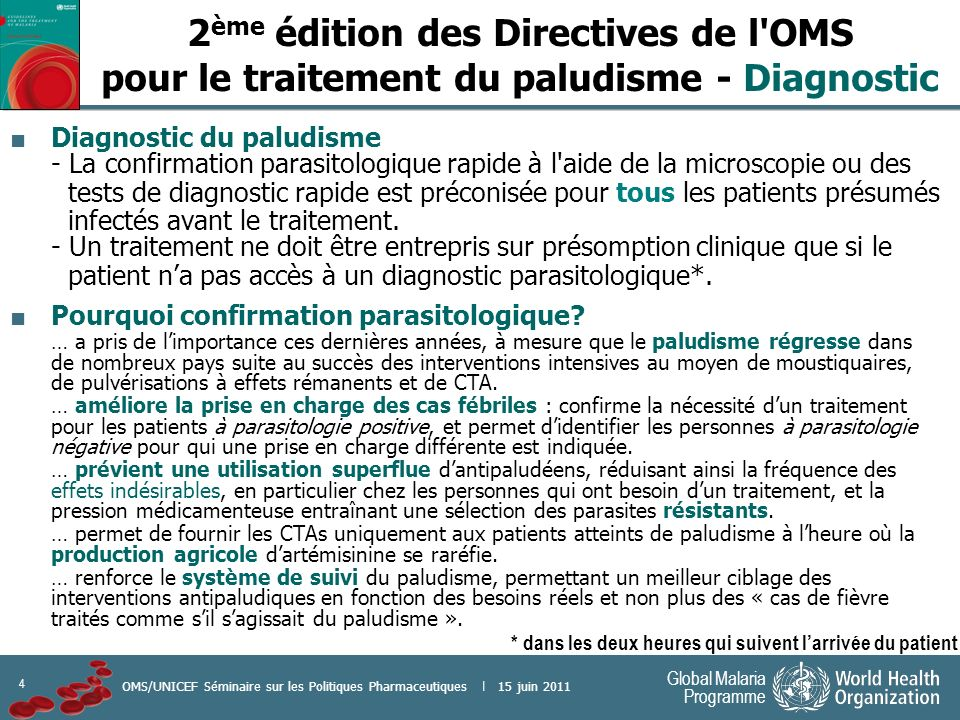 5 Global Malaria Programme OMS/UNICEF Séminaire sur les Politiques Pharmaceutiques | 15 juin 2011 Bonnes pratiques de sélection et d achat des tests de diagnostic rapide du paludisme Manuel disponible sur internet: http://www.who.int/malaria/publications/ atoz/9789241501125/en/index.html