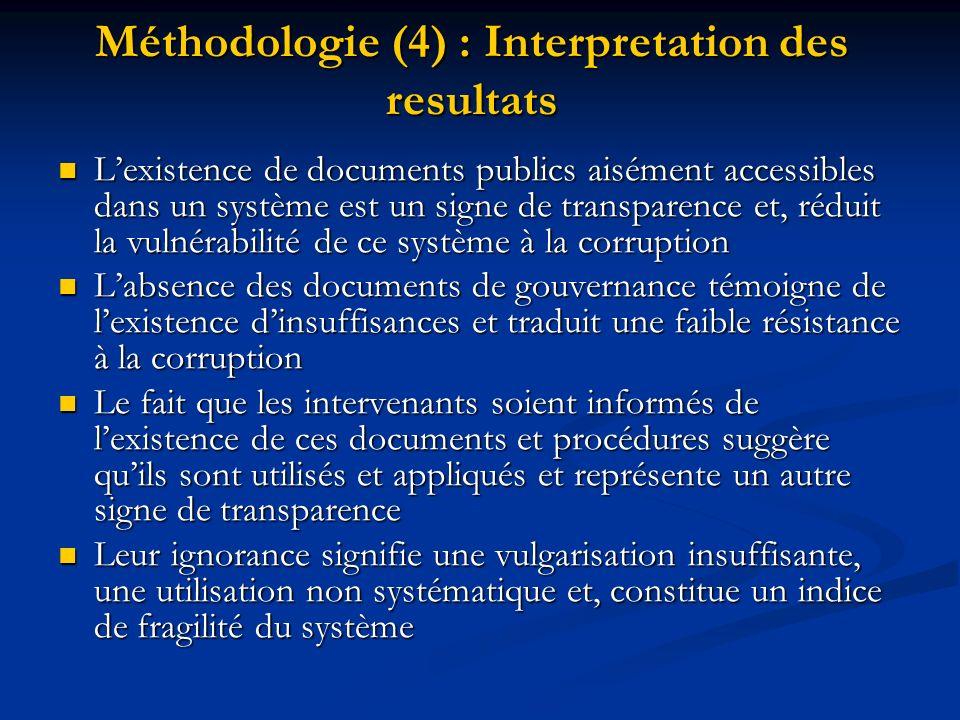 Méthodologie (4) : Interpretation des resultats Lexistence de documents publics aisément accessibles dans un système est un signe de transparence et,