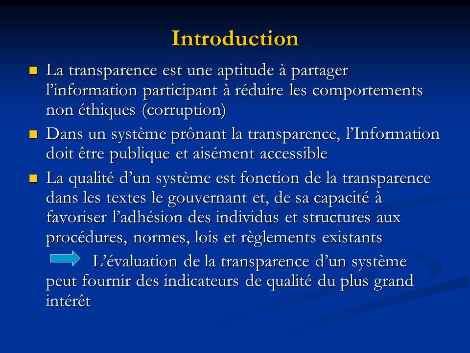 Introduction La transparence est une aptitude à partager linformation participant à réduire les comportements non éthiques (corruption) La transparenc
