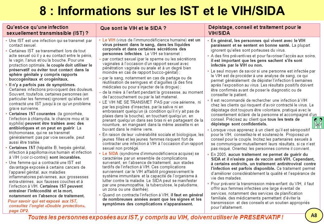 8 : Informations sur les IST et le VIH/SIDA Une IST est une infection qui se transmet par contact sexuel.