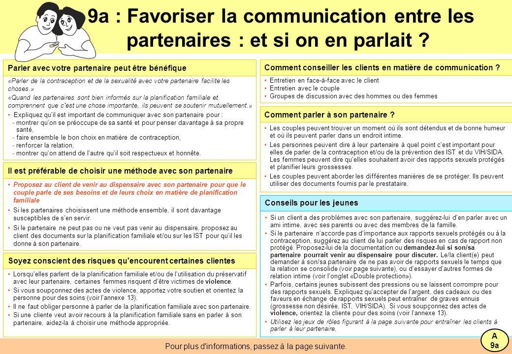 9a : Favoriser la communication entre les partenaires : et si on en parlait .