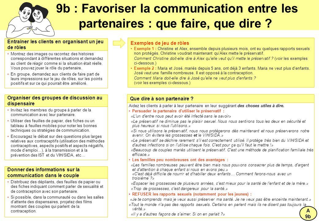 9b : Favoriser la communication entre les partenaires : que faire, que dire .