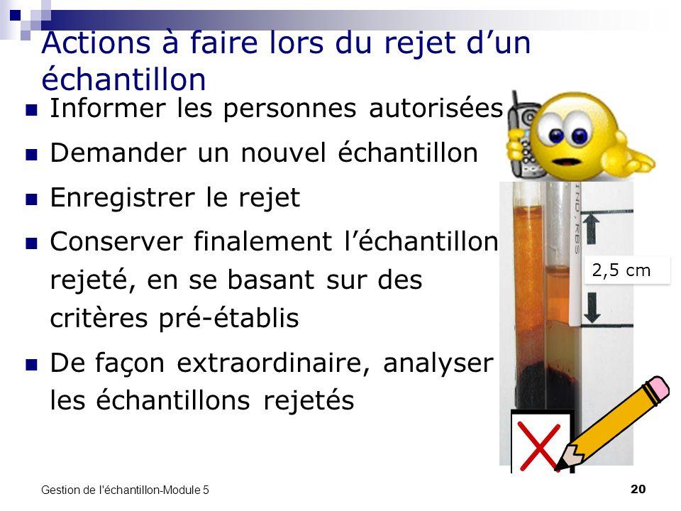 Gestion de l'échantillon-Module 5 20 Actions à faire lors du rejet dun échantillon Informer les personnes autorisées Demander un nouvel échantillon En