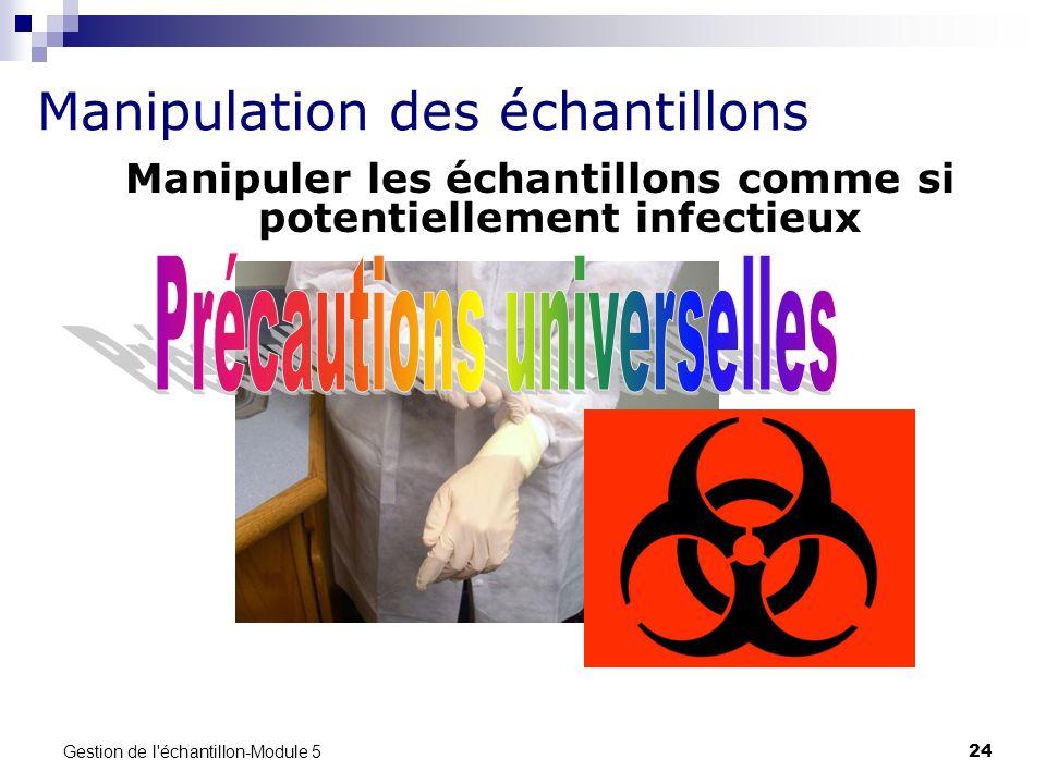 Gestion de l'échantillon-Module 5 24 Manipuler les échantillons comme si potentiellement infectieux Manipulation des échantillons