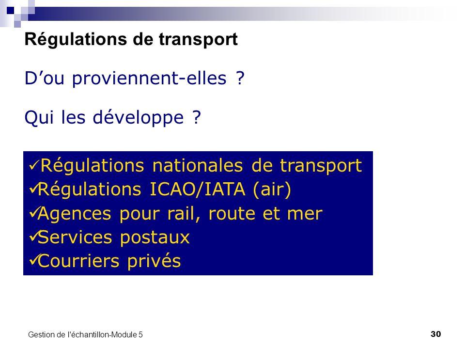 Gestion de l'échantillon-Module 5 30 Régulations de transport Dou proviennent-elles ? Qui les développe ? Régulations nationales de transport Régulati