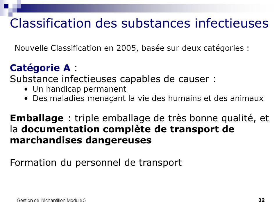 Gestion de l'échantillon-Module 5 32 Classification des substances infectieuses Nouvelle Classification en 2005, basée sur deux catégories : Catégorie