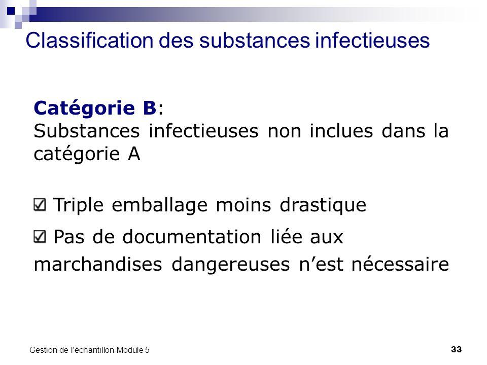 Gestion de l'échantillon-Module 5 33 Classification des substances infectieuses Catégorie B: Substances infectieuses non inclues dans la catégorie A T
