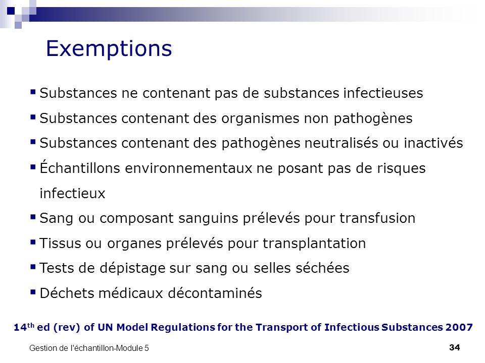Gestion de l'échantillon-Module 5 34 14 th ed (rev) of UN Model Regulations for the Transport of Infectious Substances 2007 Exemptions Substances ne c