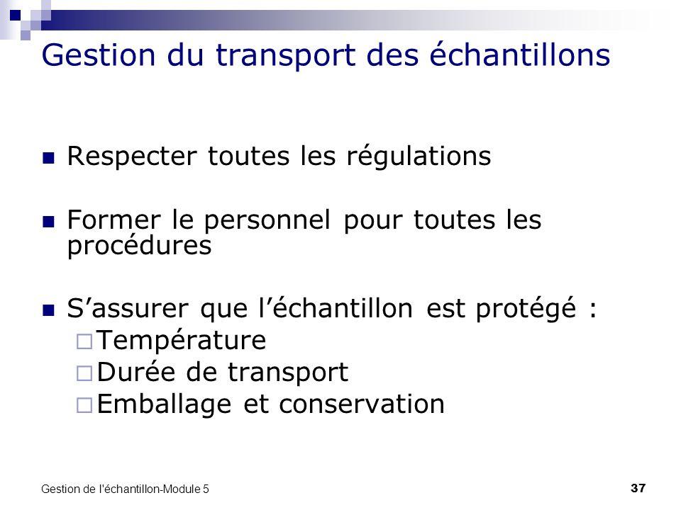 Gestion de l'échantillon-Module 5 37 Gestion du transport des échantillons Respecter toutes les régulations Former le personnel pour toutes les procéd