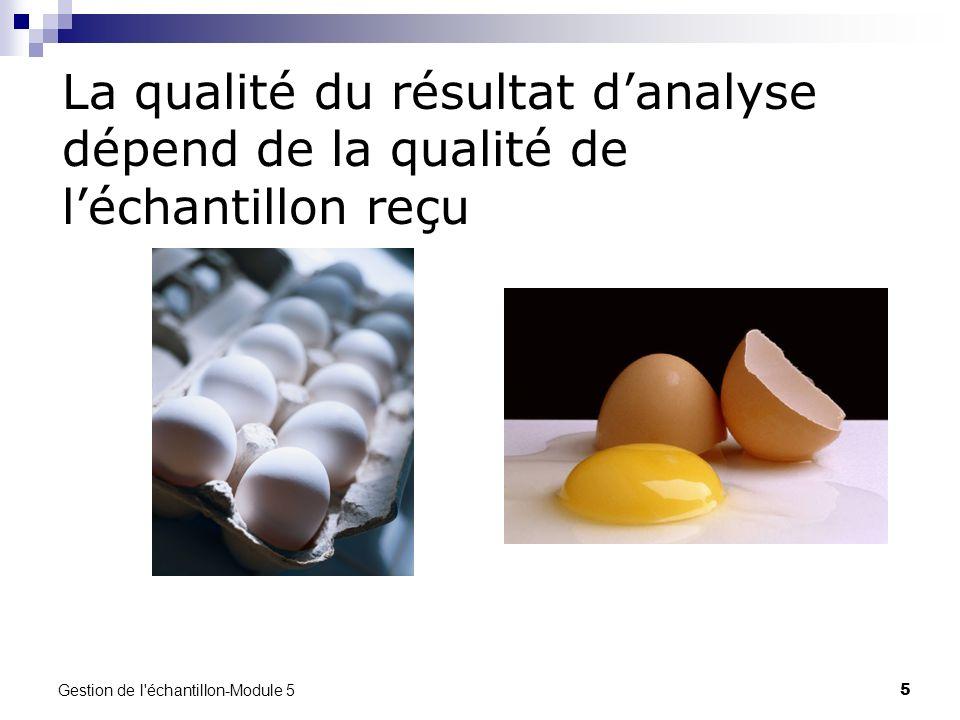 Gestion de l'échantillon-Module 5 5 La qualité du résultat danalyse dépend de la qualité de léchantillon reçu