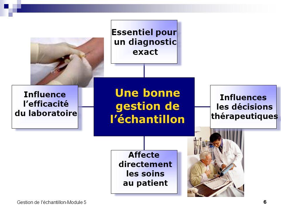 Gestion de l'échantillon-Module 5 6 Influence lefficacité du laboratoire Affecte directement les soins au patient Influences les décisions thérapeutiq