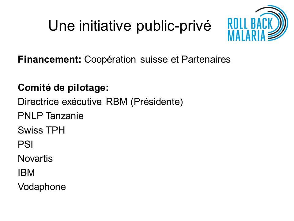Une initiative public-privé Financement: Coopération suisse et Partenaires Comité de pilotage: Directrice exécutive RBM (Présidente) PNLP Tanzanie Swi