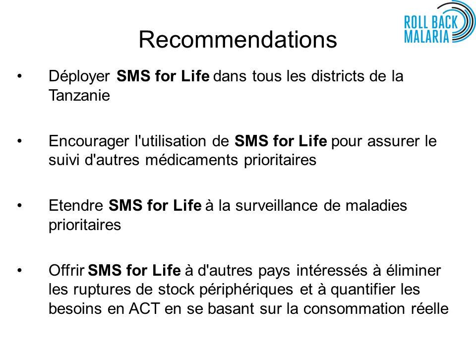 Recommendations Déployer SMS for Life dans tous les districts de la Tanzanie Encourager l utilisation de SMS for Life pour assurer le suivi d autres médicaments prioritaires Etendre SMS for Life à la surveillance de maladies prioritaires Offrir SMS for Life à d autres pays intéressés à éliminer les ruptures de stock périphériques et à quantifier les besoins en ACT en se basant sur la consommation réelle