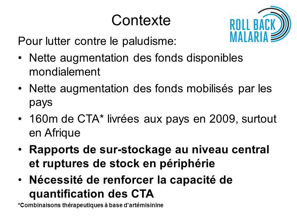 Rapport coût SMS/coût CTA par Centre de Santé (CS) L Institut de santé tropicale et publique suisse* a mis à jour son outil de calcul des besoins en CTA par district et estime que dans les régions avec une endémicité comparable à celle de la Tanzanie, le coût du besoin/demande de CTA est environ de $3.917 / 10.000 hbts** en cas d utilisation de TDR $6.288 / 10.000 hbts** sans utilisation de TDR L investissement reste donc marginal.