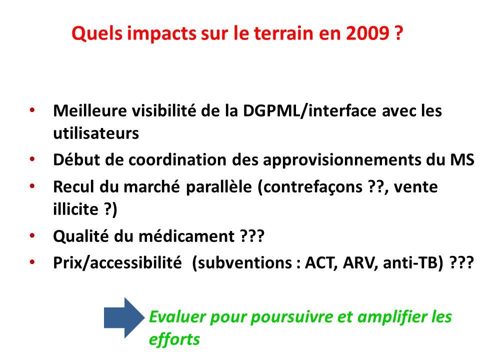 Quels impacts sur le terrain en 2009 ? Meilleure visibilité de la DGPML/interface avec les utilisateurs Début de coordination des approvisionnements d