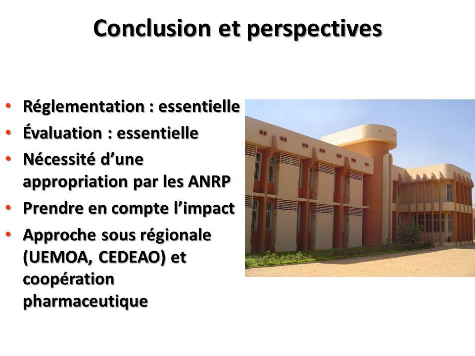 Conclusion et perspectives Réglementation : essentielle Réglementation : essentielle Évaluation : essentielle Évaluation : essentielle Nécessité dune