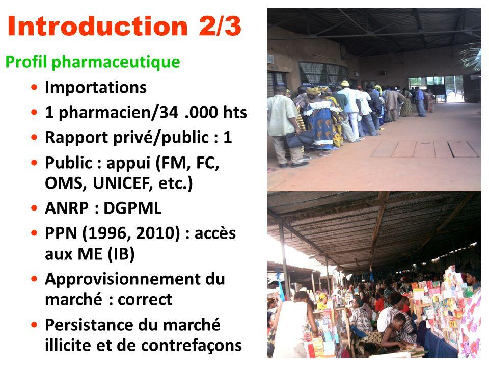 Introduction 2/3 Profil pharmaceutique Importations 1 pharmacien/34.000 hts Rapport privé/public : 1 Public : appui (FM, FC, OMS, UNICEF, etc.) ANRP :