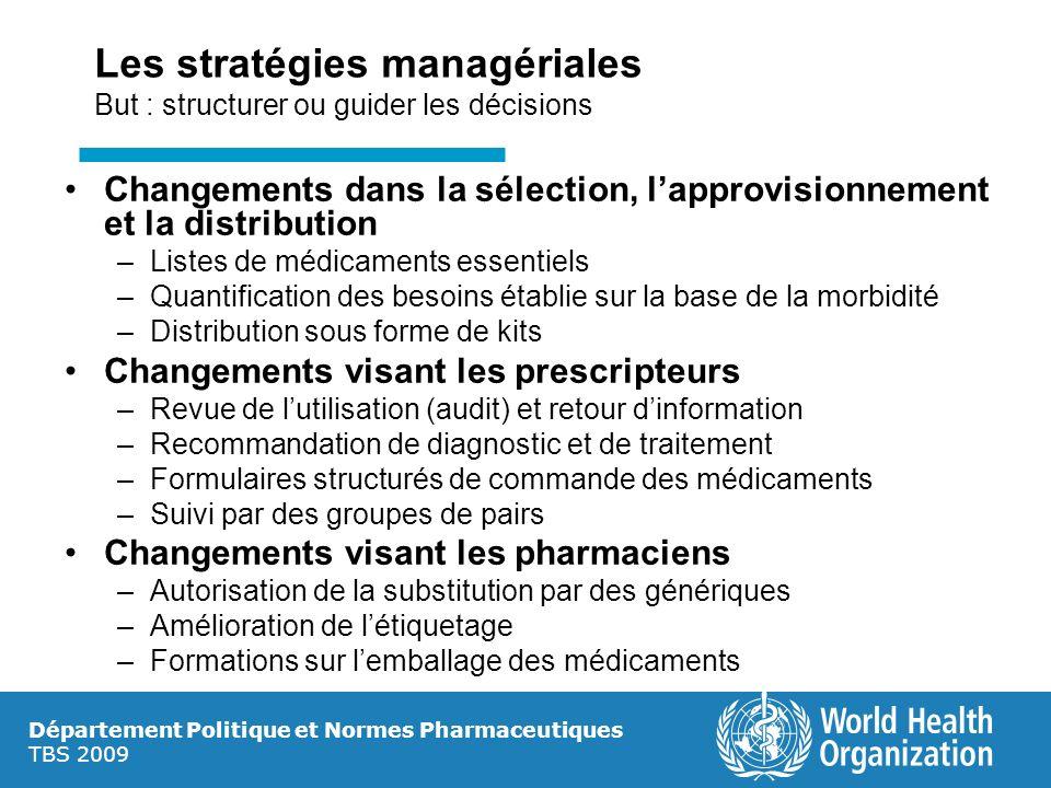 Département Politique et Normes Pharmaceutiques TBS 2009 Les stratégies managériales But : structurer ou guider les décisions Changements dans la séle
