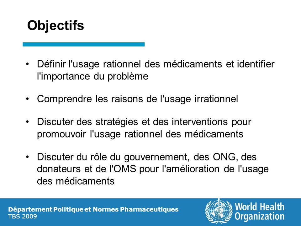 Objectifs Définir l'usage rationnel des médicaments et identifier l'importance du problème Comprendre les raisons de l'usage irrationnel Discuter des