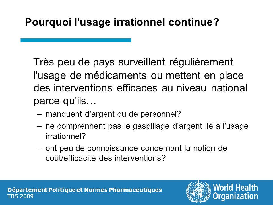 Département Politique et Normes Pharmaceutiques TBS 2009 Pourquoi l'usage irrationnel continue? Très peu de pays surveillent régulièrement l'usage de