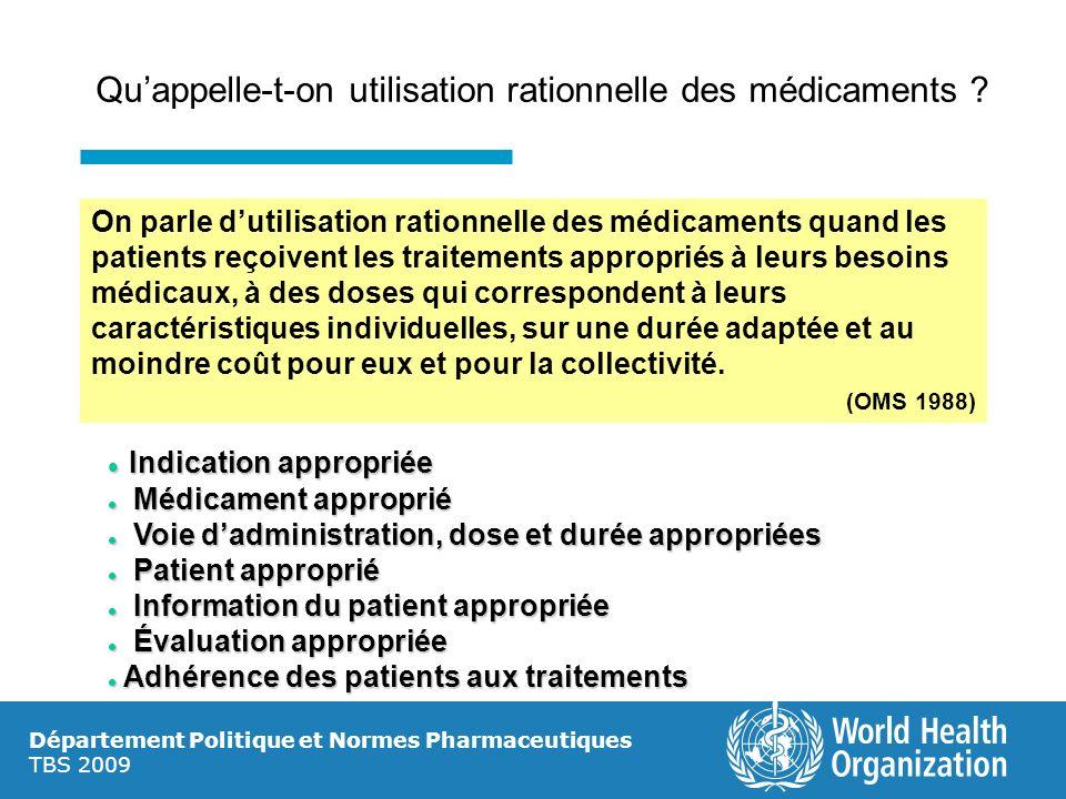 Département Politique et Normes Pharmaceutiques TBS 2009 Quappelle-t-on utilisation rationnelle des médicaments ? On parle dutilisation rationnelle de