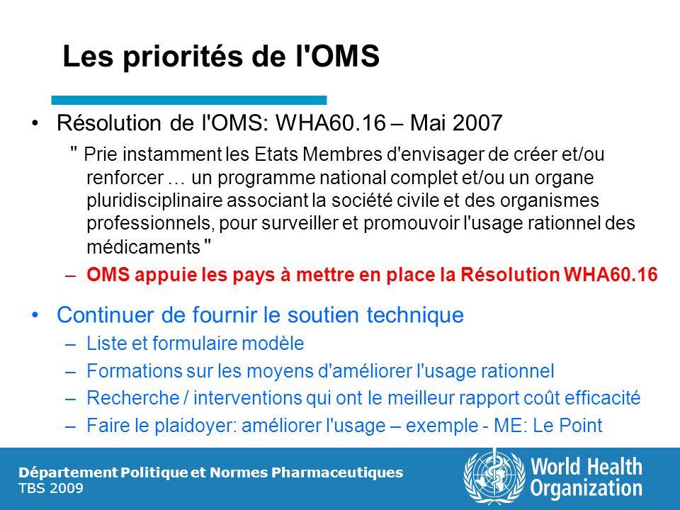 Département Politique et Normes Pharmaceutiques TBS 2009 Les priorités de l'OMS Résolution de l'OMS: WHA60.16 – Mai 2007
