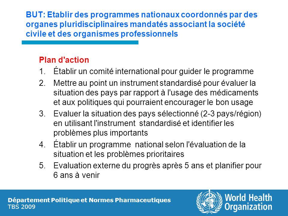 Département Politique et Normes Pharmaceutiques TBS 2009 BUT: Etablir des programmes nationaux coordonnés par des organes pluridisciplinaires mandatés