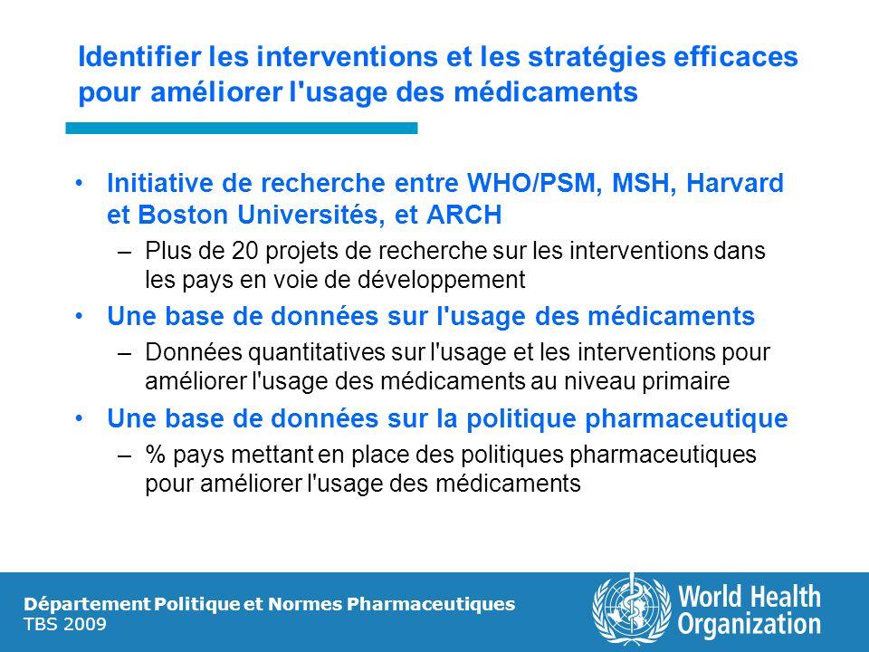 Département Politique et Normes Pharmaceutiques TBS 2009 Identifier les interventions et les stratégies efficaces pour améliorer l'usage des médicamen