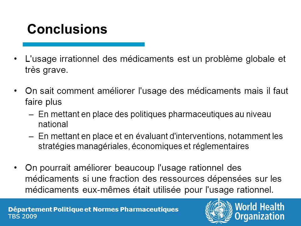 Département Politique et Normes Pharmaceutiques TBS 2009 Conclusions L'usage irrationnel des médicaments est un problème globale et très grave. On sai