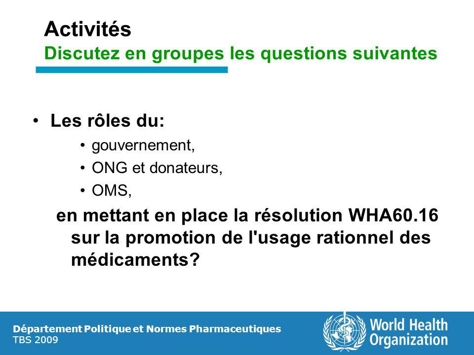 Département Politique et Normes Pharmaceutiques TBS 2009 Activités Discutez en groupes les questions suivantes Les rôles du: gouvernement, ONG et dona