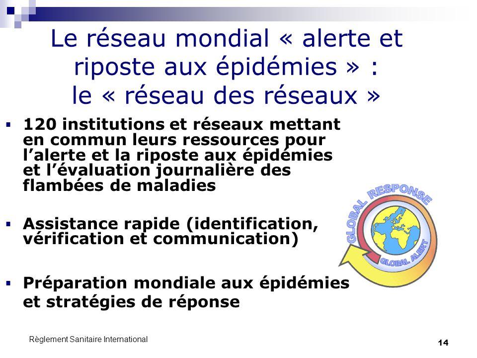 Règlement Sanitaire International 14 120 institutions et réseaux mettant en commun leurs ressources pour lalerte et la riposte aux épidémies et lévalu