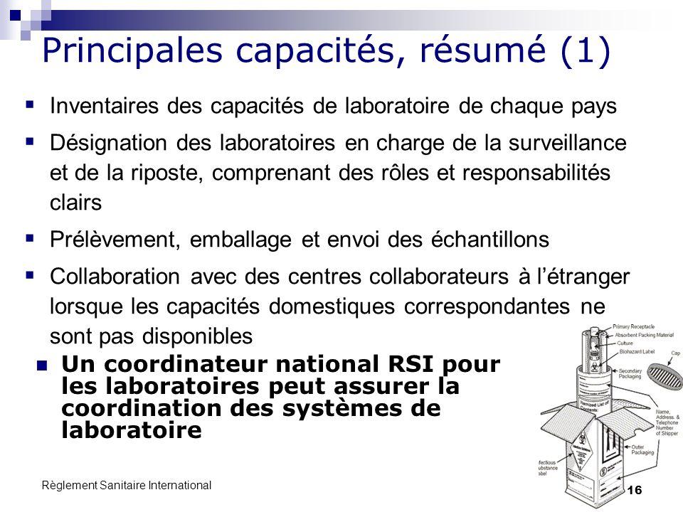 Règlement Sanitaire International 16 Principales capacités, résumé (1) Un coordinateur national RSI pour les laboratoires peut assurer la coordination