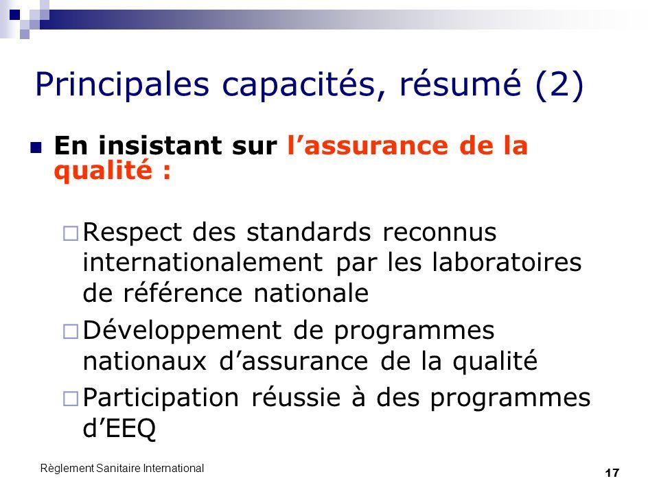 Règlement Sanitaire International 17 Principales capacités, résumé (2) En insistant sur lassurance de la qualité : Respect des standards reconnus inte
