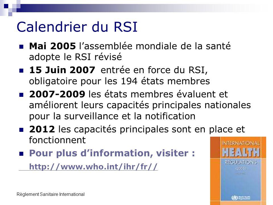 Règlement Sanitaire International 19 Calendrier du RSI Mai 2005 lassemblée mondiale de la santé adopte le RSI révisé 15 Juin 2007entrée en force du RSI, obligatoire pour les 194 états membres 2007-2009 les états membres évaluent et améliorent leurs capacités principales nationales pour la surveillance et la notification 2012 les capacités principales sont en place et fonctionnent Pour plus dinformation, visiter : http://www.who.int/ihr/fr//